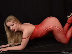 LusciousModels - Lotte Petite, Sexy Blonde In A Red Bodystocking Pt1 Gallery