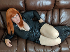 MrsLeather - Leather Dress & Boots On The Sofa Photo Album