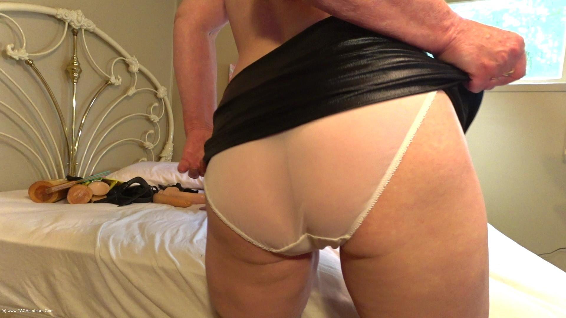CougarBabeJolee - Worship My Hot Arse In PVC Mini & Transparent Panties scene 1