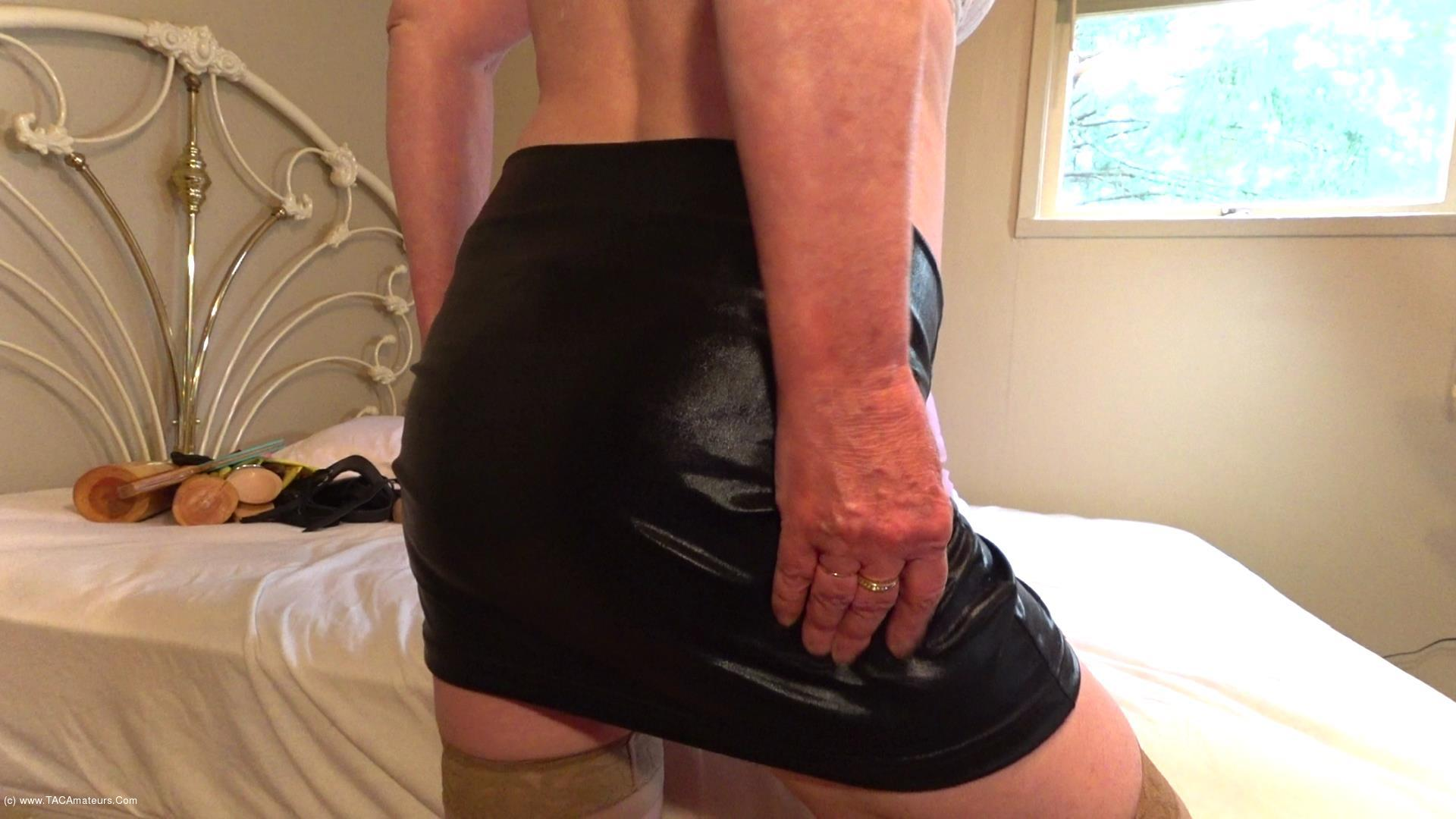 CougarBabeJolee - Worship My Hot Arse In PVC Mini & Transparent Panties scene 3