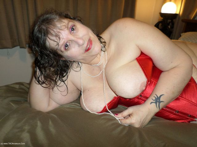 Red Corset and Purple Fuck Me Pumps