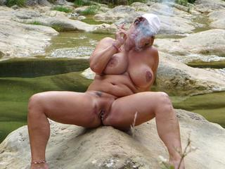 Nude Chrissy - Nude Smoking Canyon HD Video