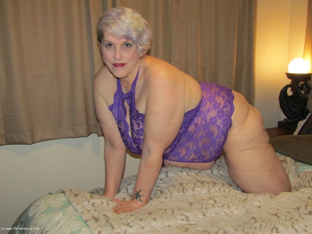 Purple Crotchless Lingerie, Foot Play & Cock Suck