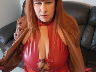 MrsLeather - Red Leather Glove Hand Job