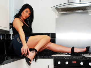 Raunchy Raven - Denim Delight Hot In The Kitchen Picture Gallery