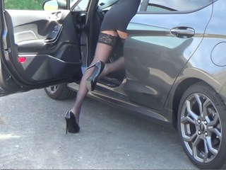 Kyras Nylons - Driving In Stilettos  Stockings HD Video
