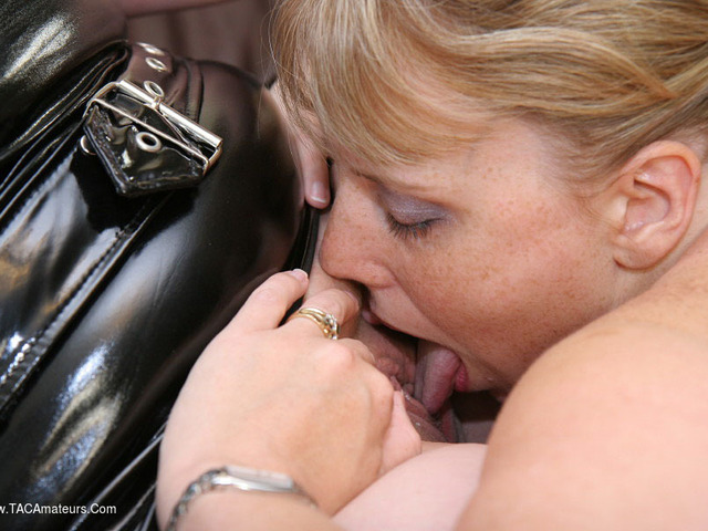 CurvyClaire - PVC Lesbo Fucking Pt1
