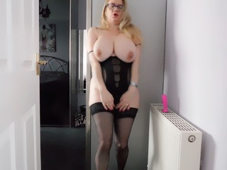 Lily May - Lily In Black Fucks Her Dildo HD Video
