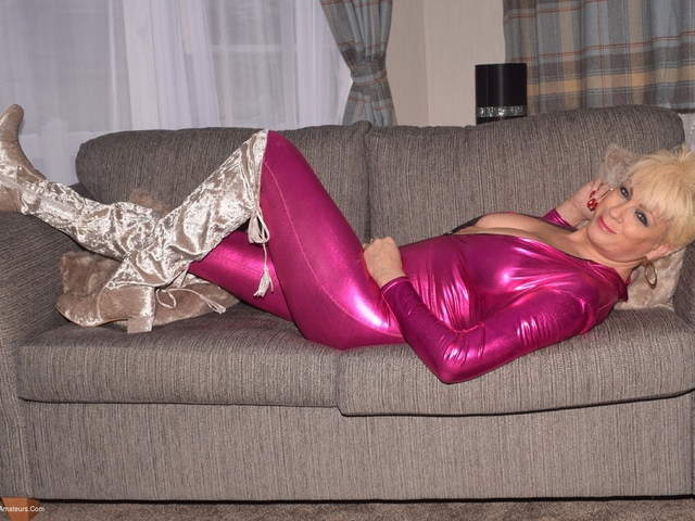 Dimonty - Pink Jump Suit  Silver Thigh Boots