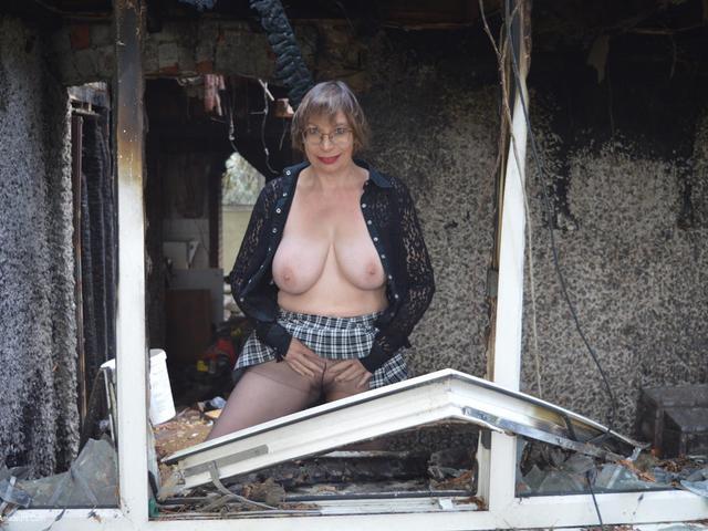 BarbySlut - Tights Strip Outside