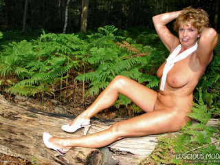 Luscious Models - Mature Lady M  Her Denim Hot Pants Pt3 Picture Gallery