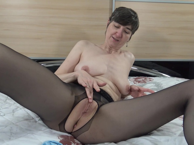 HotMilf - Dildo Fuck In Crotchless Tights