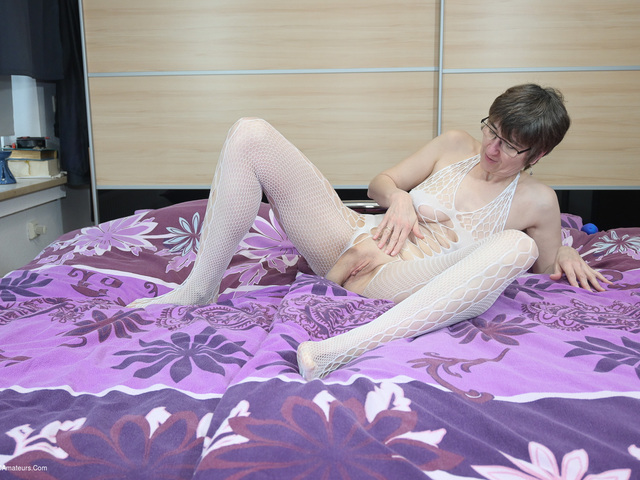 HotMilf - Dildo Fucking In A White Catsuit